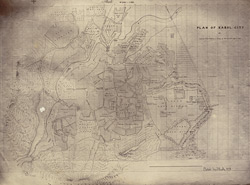 Map of city [of Kabul], ground plan drawn by Guides.